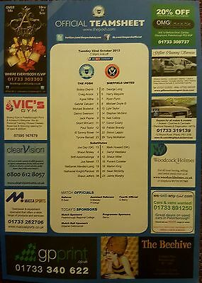 2013-14  PETERBOROUGH UNITED V SHEFFIELD UNITED - Official Colour Teamsheet
