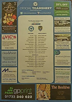 2013-14  PETERBOROUGH UNITED V NOTTS COUNTY - Official Colour Teamsheet