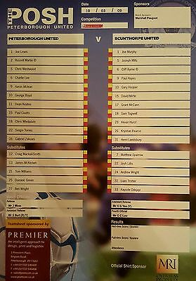2008-09 PETERBOROUGH UNITED V SCUNTHORPE UNITED - Official Colour Teamsheet