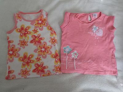2 x Baby girl 12-18 Months Marks and spencers t-shirts