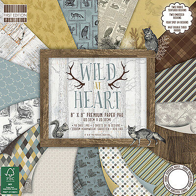 Dovecraft, First Edition Paper Pad Wild at Heart;Scrapbooking Papier 20,3x20,3cm