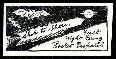 India Rocket Mail Stamp - 1934 Ship To Shore Night Flight - with Bats