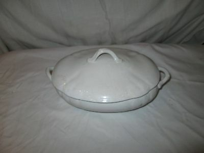 white dish with lid very old
