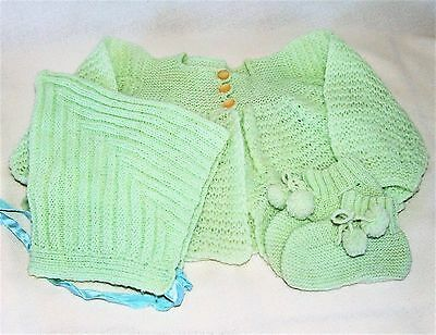 Vintage Green Crocheted or Knit Baby Sweater with Bonnet and Booties