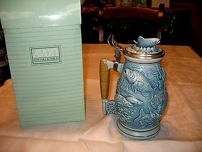 New Original Box Avon Collectibles 1990 Salmon Bass Trout Fishing Beer Stein