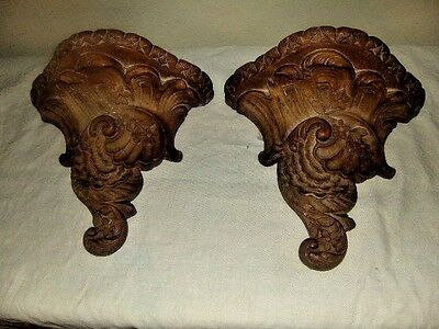 Pair Vintage Ceramic Wall Sconce  Shelf Shabby Chic Flowers