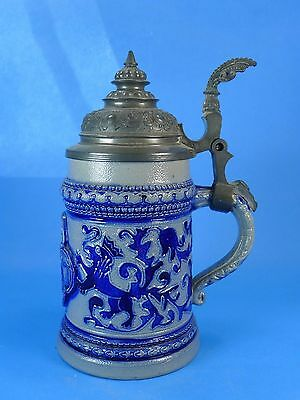 CREEPY! White-and-Blue LIDDED BEER STEIN With Medieval Warrior Holding a Head