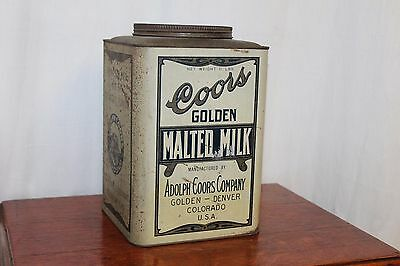 1930s Original Coors Golden Malted Milk 10 Lbs Tin Advertising Can Empty