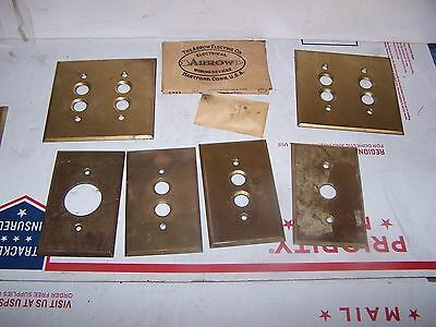 Vintage Lot 6 Brass Electrical Outlet Covers Switch Plates Push Button ROUND