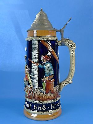 CREEPY! Vintage WEST GERMAN Beer STEIN- Guys Beating Another Guy; 1 L / 11.5""