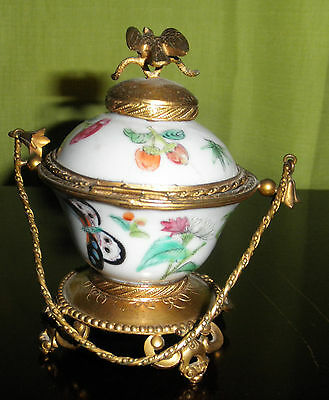 antique chinese famille rose porcelain covered  gold gilt footed box jar