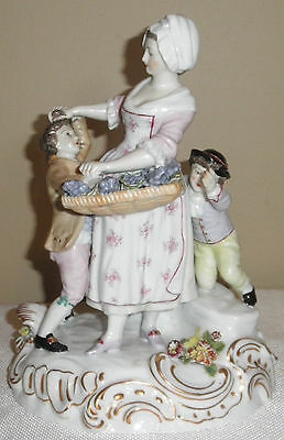 Large Antique German Beehive Lavender Seller And Boy Thieves Porcelain Figurine