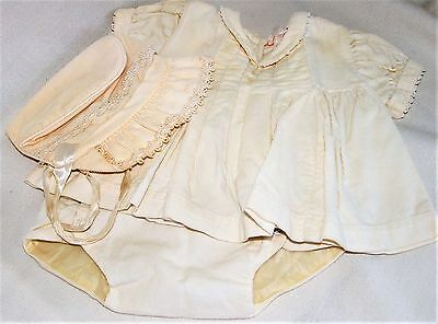 Vintage Yellow Corduroy Baby Dress and Diaper Set with Bonnett