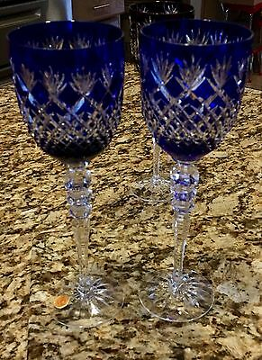 8 Various Color W. Germany Bohemian Cut Crystal Wine Glasses