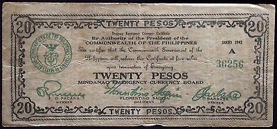 PHILIPPINES 1943 20 Pesos WWII Emergency Currency S489a Series A