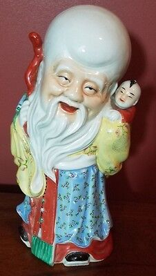 Vintage Chinese Shou God Figure Statue w/child 14""