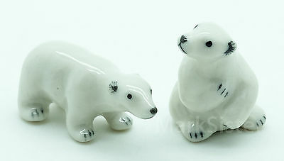 Figurine Animal Miniature Ceramic Statue 2 White Polar Bear - CWB013