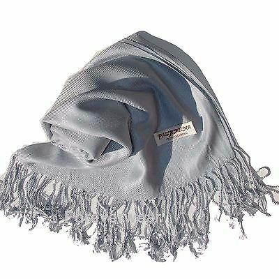 NEW Women Solid 100%Pashmina Wrap Stole Cashmere Shawl/Scarf Soft Silver #P202