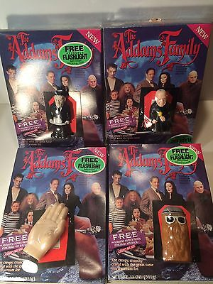 VINTAGE 1991 Lot Of 4 ADAMS FAMILY CEREAL FLASHLIGHT GROUP Sealed