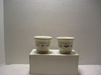 (2)Longaberger Votive/Toothpick  Cups Woven Traditions Blue and Christmas Holly