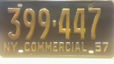 Commercial New York license plate  1957