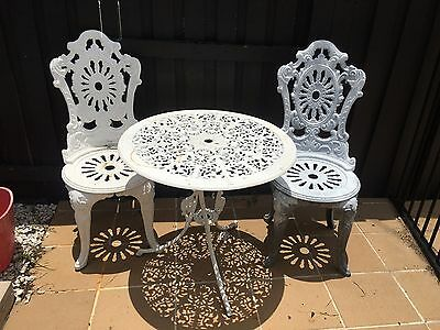 Aluminium Table And Two Chairs
