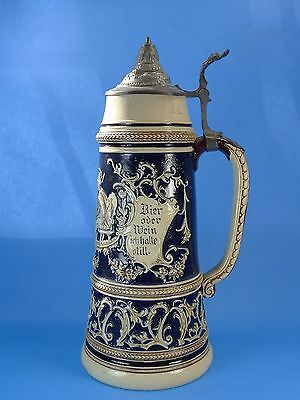 Tall, 2-Liter GERMAN BEER STEIN- Women Serving Food + Inscription on Beer & Wine