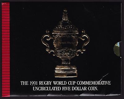 1991 New Zealand $5 Coin Rugby World Cup Commemorative
