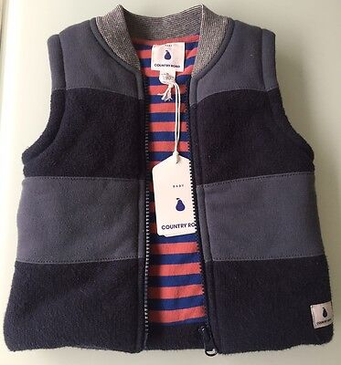 NEW 2016 Cotton Blue Grey COUNTRY ROAD Baby Boy Padded VEST 6-12M RP$64.95