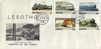 L1459cgtA4lc 1984 LESOTHO Railways Of The World First Day Cover