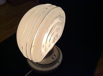 Vintage Art Deco Wall Light Lamp Sconce Porcelier Ringed Glass Shade COOL