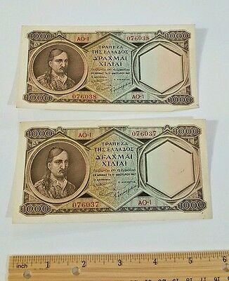 2 Greece 1000 Drachmai ND (1947) Nice Condition Banknote lot Bill