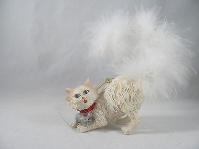 White Cat with Fluffy Tail Christmas Tree Ornament new holiday