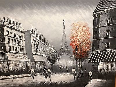 Extra Large CANVAS WALL ART OIL PAINTING HAND PAINTED PARIS EIFFEL TOWER STREET