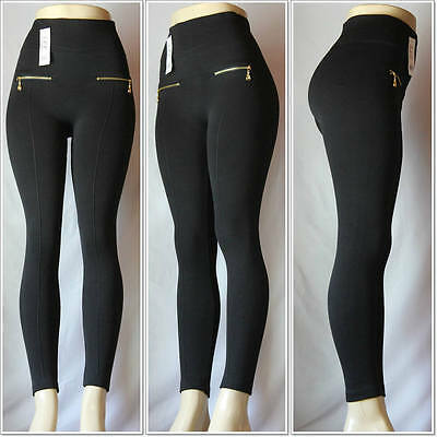 Fashion Zipper Fleece Color Knitted Leggings One Size Skinny Brushed Warm Pants
