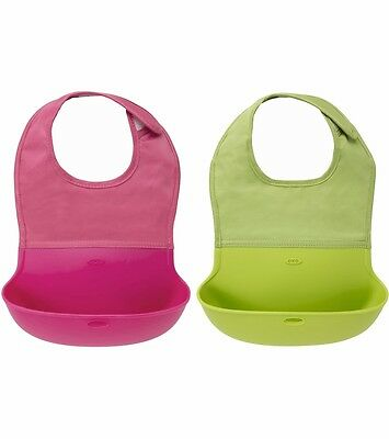 OXO Tot Roll Up Bib Pink/Green 2 Pack - Free Shipping