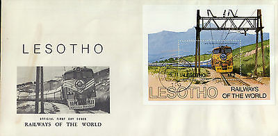 L1458cgtA4lc 1984 LESOTHO Railways Of The World First Day Cover