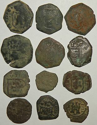 Spanish Cob Colonial 1600's Crown Pirate Coin Antique Castle12 Total Bronze Lot