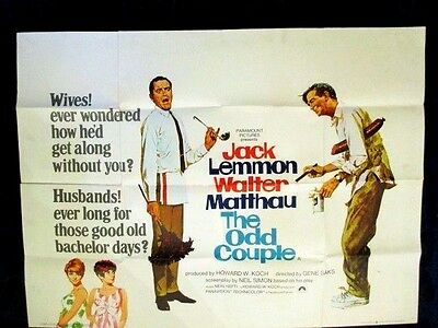THE ODD COUPLE 1968 CLASSIC REAL VINTAGE 40X30in UK QUAD FILM MOVIE POSTER