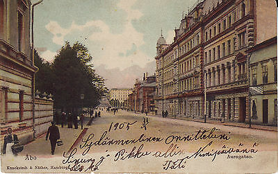 Finland Turku Abo - Auragatan 1905 used not mailed postcard