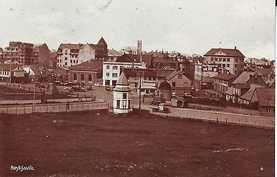 Iceland Reykjavik - Partial View old unused real photo sepia postcard