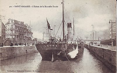 France Saint-Nazaire Laura Rotterdam Ship in Canal old used not mailed postcard