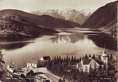 Norway Norge Ulvik i Hardanger - City and Harbor 1937 real photo sepia postcard