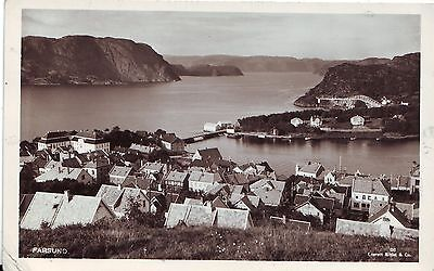 Norway Norge Farsund - Total View old real photo unused postcard