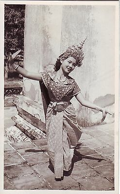 Thailand Siam - Woman in Native Dress Costume Dancing old real photo postcard