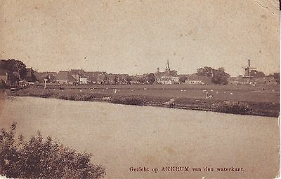 Netherlands Akkrum - Water Front 1918 sepia postcard