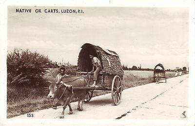 Philippines Luzon - Native Ox Cart old real photo Danville IL published postcard