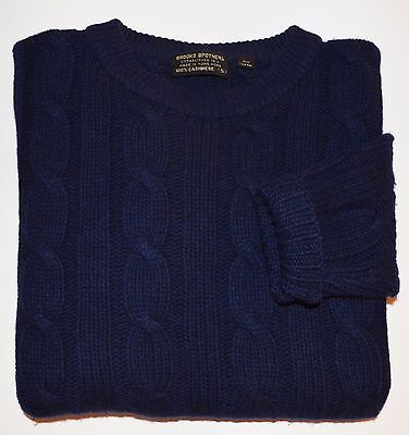 Vintage Brooks Brothers 3Ply 100% Cashmere Navy Cable Crew Neck Mens Sweater SM