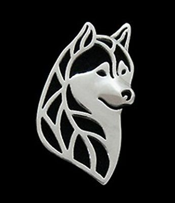 Siberian Husky Profile Brooch or Pin -Fashion Jewellery Silver Plated, Stud Back