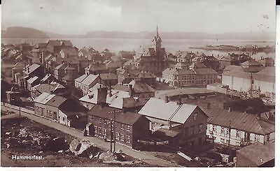 Norway Norge Hammerfest - City and Harbour old real photo postcard
